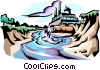 Factory producing effluents Vector Clip Art graphic