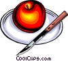 Vector Clipart image  of an Apple on plate with knife