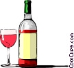 Vector Clipart graphic  of a Wine bottle with glass