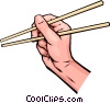 Vector Clip Art image  of a Hands with chopsticks