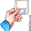 Vector Clipart graphic  of a hand with floppy disk