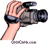 Vector Clipart illustration  of a hand holding camcorder