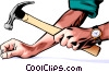 Vector Clip Art picture  of a Hands with hammer