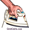 Vector Clipart graphic  of a Hand ironing