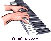 Vector Clipart illustration  of a Hands playing the piano