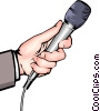 Vector Clip Art picture  of a Hand with microphone