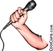 Hand with microphone Vector Clip Art graphic
