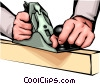 Hands with wood plane Vector Clip Art graphic