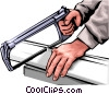 Vector Clipart graphic  of a Hands with hacksaw