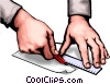 Hands cutting Vector Clipart picture