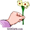 Hand with flowers Vector Clipart graphic