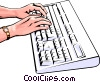 Vector Clip Art image  of a Hands at keyboard