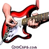 Vector Clipart image  of a Hands playing the guitar