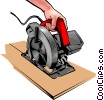 Vector Clip Art image  of a Hands with a power saw