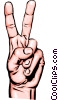 Hands giving victory sign Vector Clipart picture