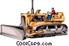 Man driving bulldozer Vector Clipart image