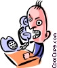 Vector Clip Art image  of an Angry man on phone