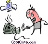 Angry man on phone Vector Clip Art picture