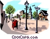 Vector Clip Art graphic  of a Street scene