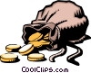 Bag of coins Vector Clip Art graphic