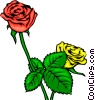 Vector Clipart image  of a Red and yellow roses