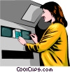 Vector Clip Art graphic  of an ATM machine