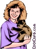 Vector Clipart image  of a Girl with Koala bear