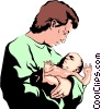 Vector Clipart illustration  of a Man with extremely ugly baby