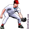 Vector Clipart picture  of a Baseball player fielding the