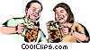 German party animals drinking beer Vector Clipart picture