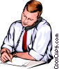 Vector Clipart image  of a Man writing