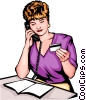 Vector Clipart illustration  of a Woman placing phone order