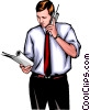 Vector Clip Art image  of a Man with telephone