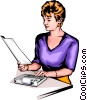 Vector Clipart image  of a Woman with calculator