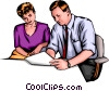 Vector Clip Art picture  of a Man & woman working