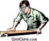 Vector Clip Art graphic  of a Man working with a table saw
