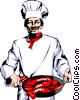 Vector Clipart graphic  of a Chef with lobsters