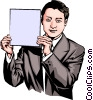 Vector Clip Art image  of a Man holding a sign