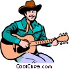 Vector Clipart graphic  of a Cowboy playing the guitar