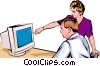 Man & woman working at computer Vector Clip Art graphic
