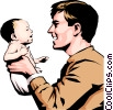 Vector Clip Art graphic  of a Father & child