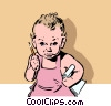 Baby with pencils Vector Clipart illustration