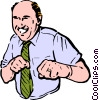 Vector Clipart picture  of a man punching