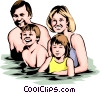 Vector Clip Art image  of a Family swimming