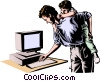 Father & son at computer Vector Clip Art picture