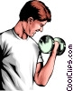 Vector Clipart picture  of a Man lifting weights