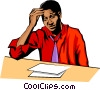 Exhausted man Vector Clip Art picture