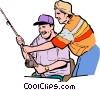 Vector Clip Art graphic  of a Men catching fish