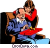 Father opening birthday gift from daughter Vector Clipart graphic