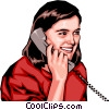 Girl on phone Vector Clip Art picture